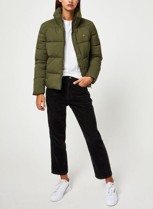 Vêtements Tommy Jeans TJW TOMMY DETAIL PUFFA JACKET Vert vue bas / vue portée sac