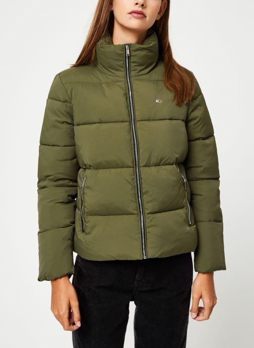 Vêtements Tommy Jeans TJW TOMMY DETAIL PUFFA JACKET Vert vue droite