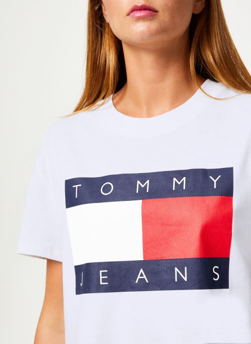 Vêtements Tommy Jeans TJW TOMMY FLAG TEE Blanc vue face