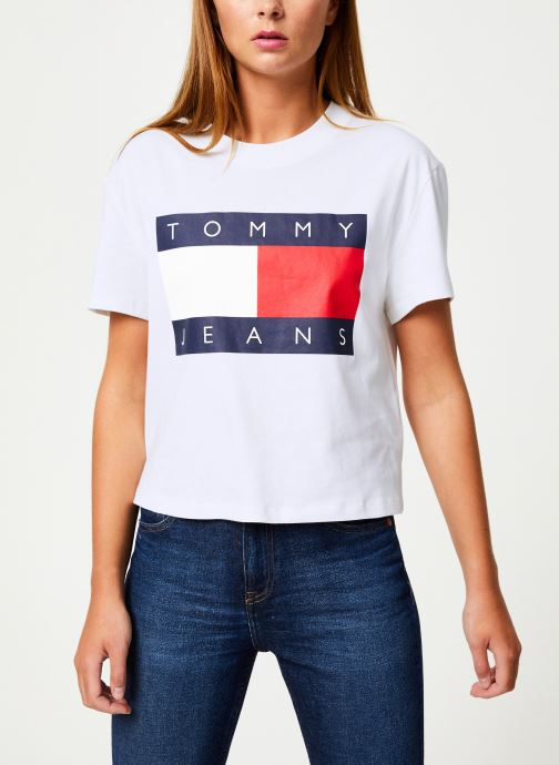 Vêtements Tommy Jeans TJW TOMMY FLAG TEE Blanc vue droite