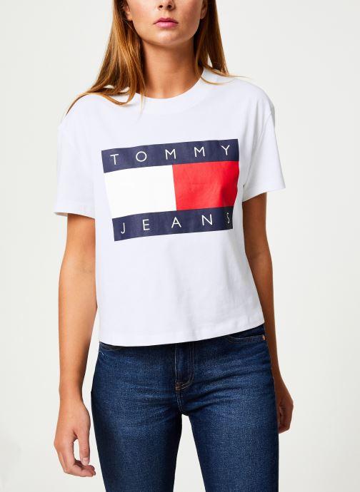 Vêtements Tommy Jeans TJW TOMMY FLAG TEE Blanc vue détail/paire