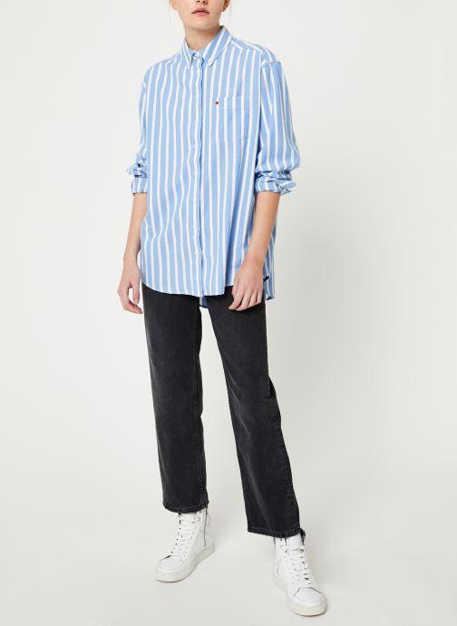 Vêtements Tommy Jeans TJW WASHED MULTISTRIPE SHIRT Bleu vue bas / vue portée sac