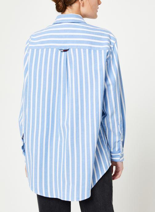 Vêtements Tommy Jeans TJW WASHED MULTISTRIPE SHIRT Bleu vue portées chaussures