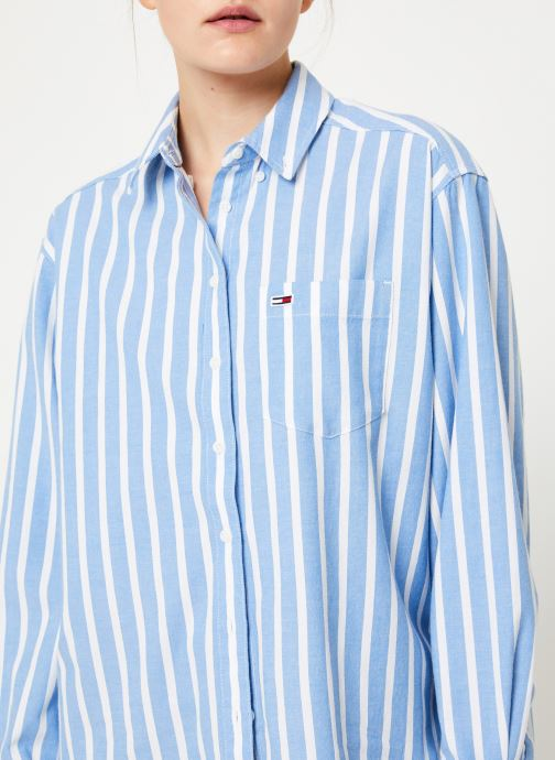 Vêtements Tommy Jeans TJW WASHED MULTISTRIPE SHIRT Bleu vue face