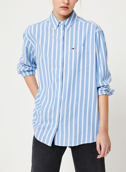 Vêtements Tommy Jeans TJW WASHED MULTISTRIPE SHIRT Bleu vue droite