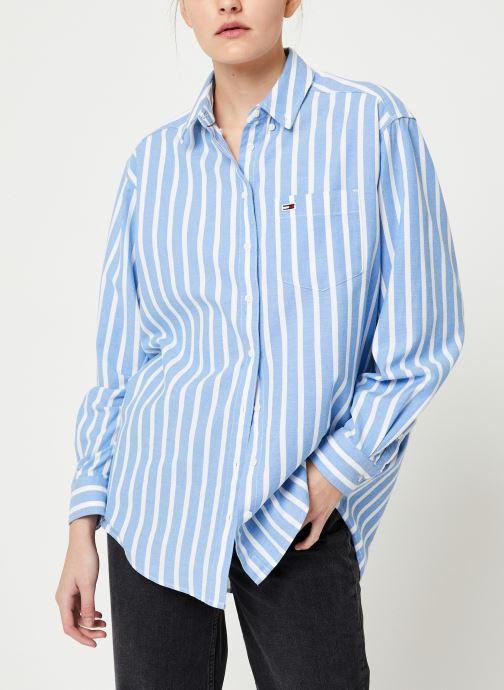 Vêtements Tommy Jeans TJW WASHED MULTISTRIPE SHIRT Bleu vue détail/paire