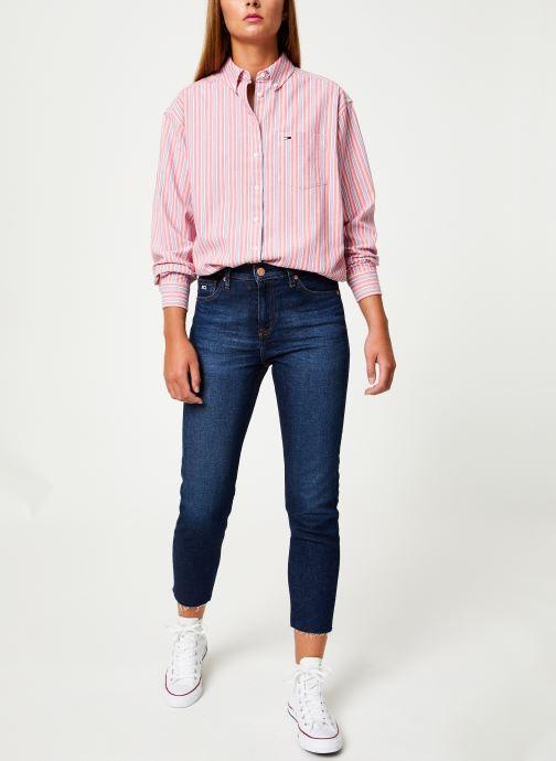 Vêtements Tommy Jeans TJW WASHED MULTISTRIPE SHIRT Rouge vue bas / vue portée sac