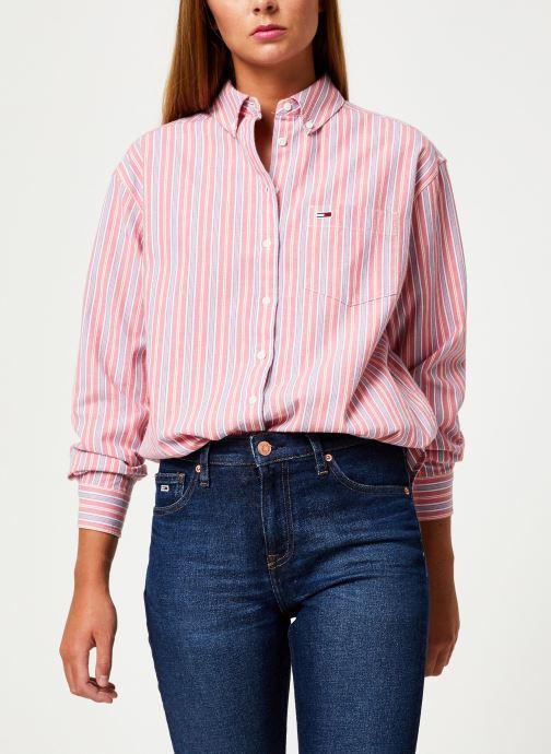 Vêtements Tommy Jeans TJW WASHED MULTISTRIPE SHIRT Rouge vue droite