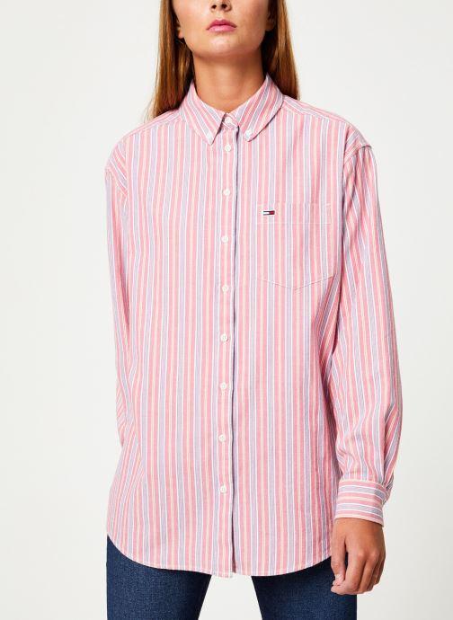 Vêtements Tommy Jeans TJW WASHED MULTISTRIPE SHIRT Rouge vue détail/paire