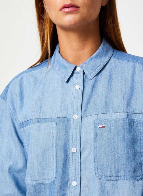Tøj Tommy Jeans TJW WASHED CHAMBRAY SHIRT Blå se forfra