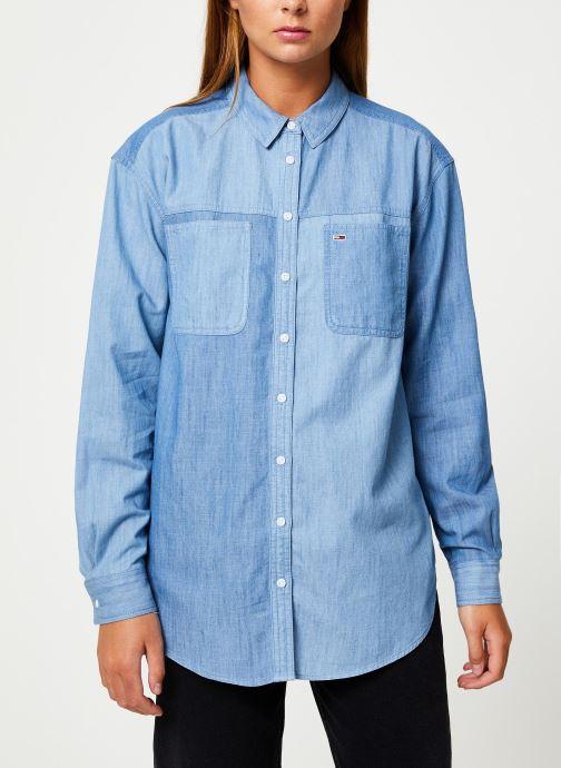 Tøj Tommy Jeans TJW WASHED CHAMBRAY SHIRT Blå detaljeret billede af skoene