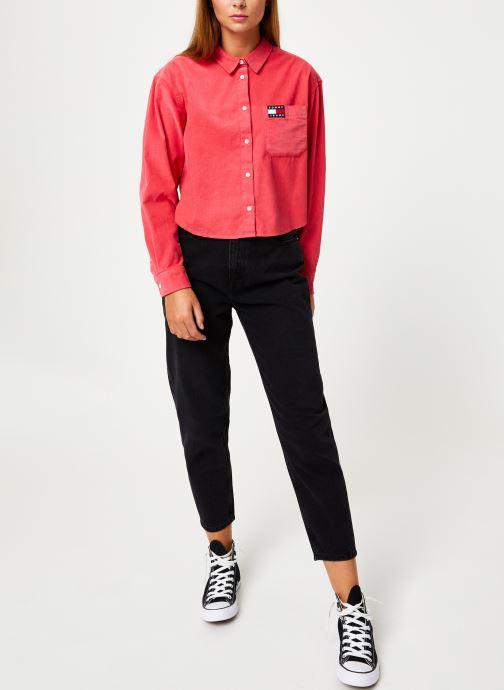 Vêtements Tommy Jeans TJW WASHED CORD SHIRT Rouge vue bas / vue portée sac