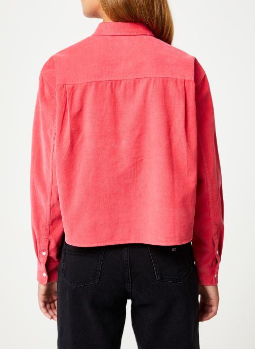 Vêtements Tommy Jeans TJW WASHED CORD SHIRT Rouge vue portées chaussures