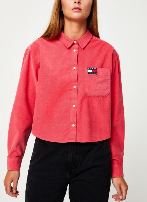 Vêtements Tommy Jeans TJW WASHED CORD SHIRT Rouge vue détail/paire