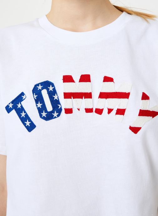 Vêtements Tommy Jeans TJW TOMMY US FLAG TEE Blanc vue face