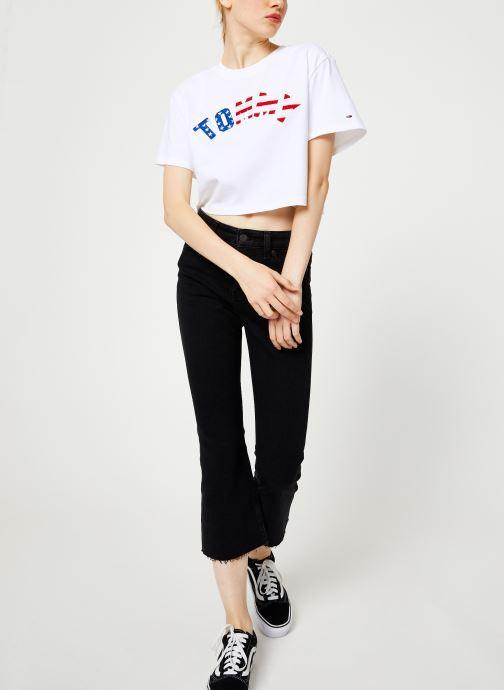 Vêtements Tommy Jeans TJW CROP FLARE BFLB Noir vue bas / vue portée sac