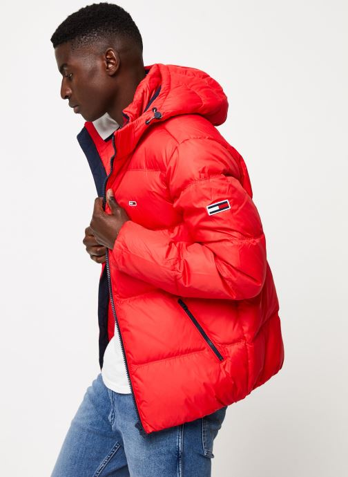 Vêtements Tommy Jeans TJM ESSENTIAL DOWN JACKET Rouge vue droite