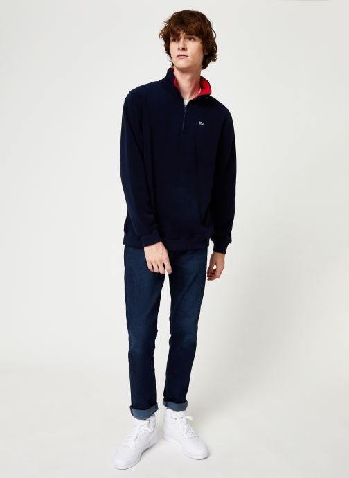 Vêtements Tommy Jeans TJM POLAR FLEECE MOCK NECK Bleu vue bas / vue portée sac