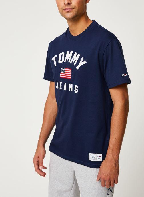 Vêtements Tommy Jeans TJM USA FLAG TEE Bleu vue droite