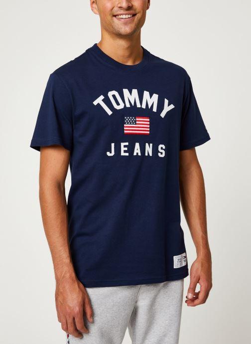 Vêtements Tommy Jeans TJM USA FLAG TEE Bleu vue détail/paire