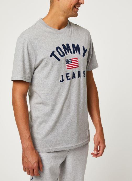 Vêtements Tommy Jeans TJM USA FLAG TEE Gris vue droite