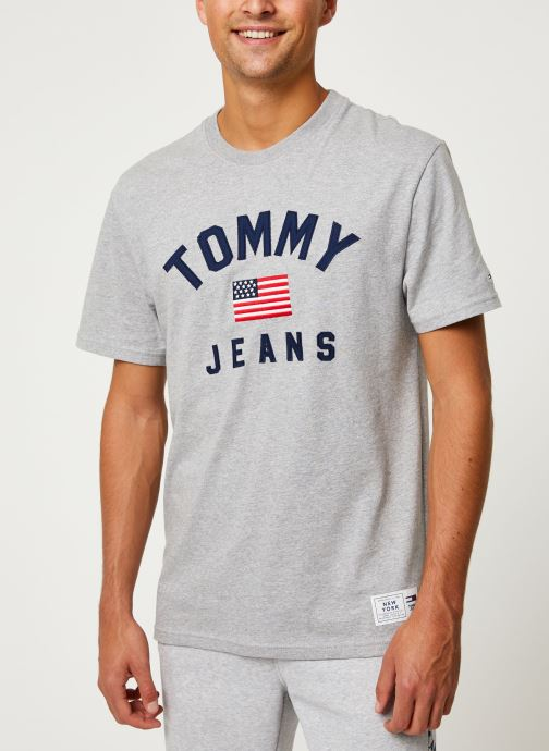 Kleding Tommy Jeans TJM USA FLAG TEE Grijs detail