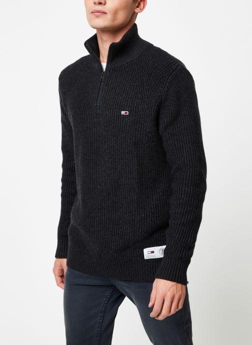 Vêtements Tommy Jeans TJM ZIP MOCK NECK Gris vue détail/paire