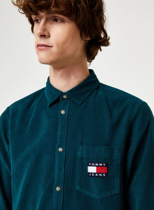 Kleding Tommy Jeans TJM CORD SHIRT Blauw voorkant