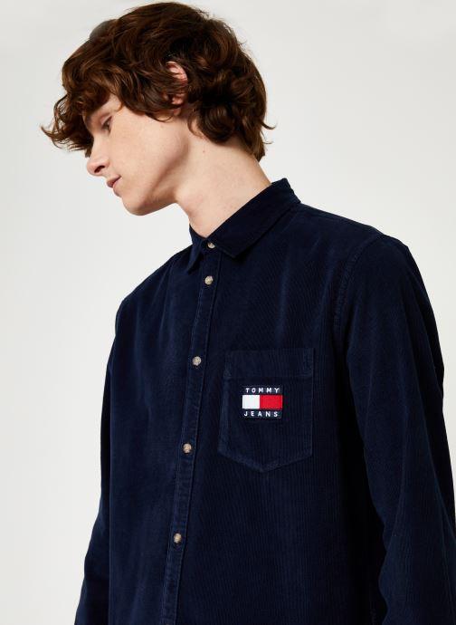 Kleding Tommy Jeans TJM CORD SHIRT Zwart voorkant