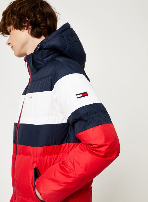 Vêtements Tommy Jeans TJM RUGBY STRIPE PUFFER JACKET Bleu vue face