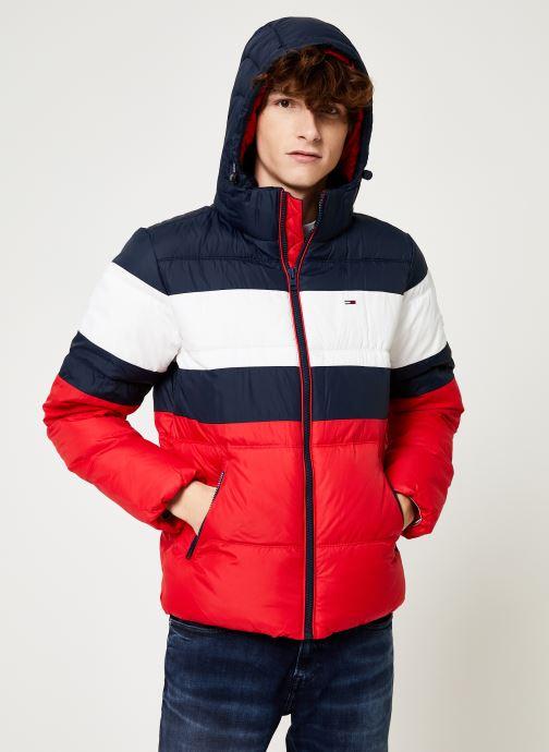 Vêtements Tommy Jeans TJM RUGBY STRIPE PUFFER JACKET Bleu vue droite