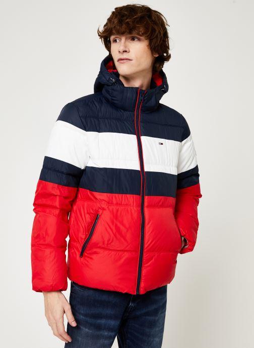 Vêtements Tommy Jeans TJM RUGBY STRIPE PUFFER JACKET Bleu vue détail/paire