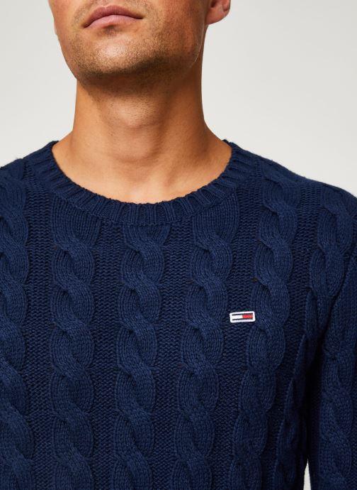 Tøj Tommy Jeans TJM ESSENTIAL CABLE SWEATER Blå se forfra