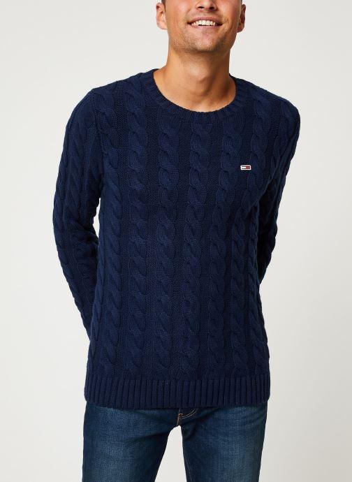 Vêtements Tommy Jeans TJM ESSENTIAL CABLE SWEATER Bleu vue droite