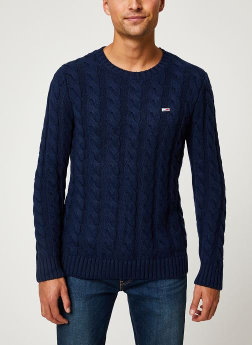 Kleding Tommy Jeans TJM ESSENTIAL CABLE SWEATER Blauw detail