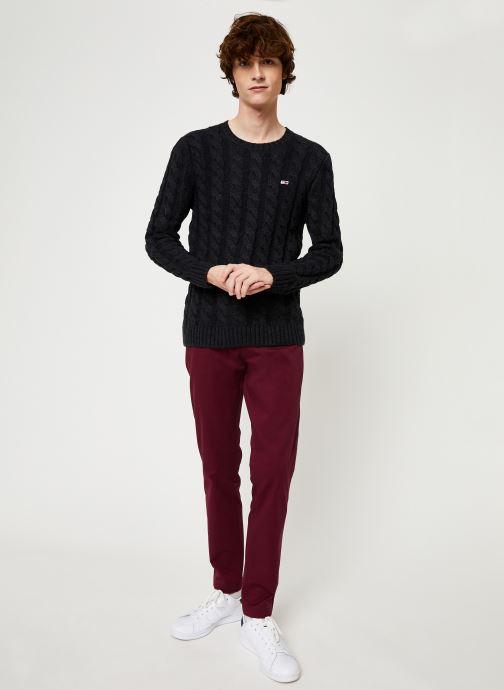 Vêtements Tommy Jeans TJM ESSENTIAL CABLE SWEATER Gris vue bas / vue portée sac