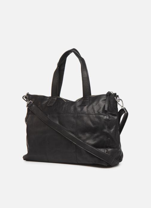Handtaschen Pieces Ingrid leather daily bag schwarz ansicht von rechts