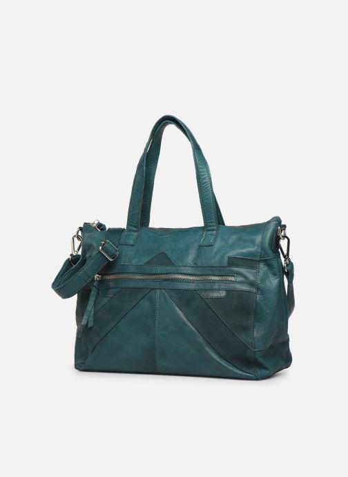 Bolsos de mano Pieces Ingrid leather daily bag Azul vista del modelo