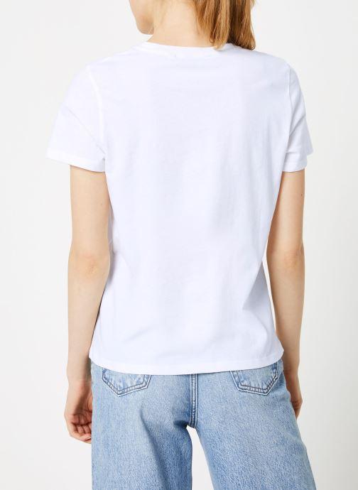 Vêtements Wrangler Round T Blanc vue portées chaussures
