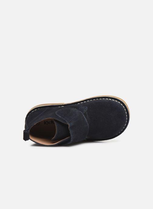 Zapatos con velcro Kickers Takono Azul vista lateral izquierda