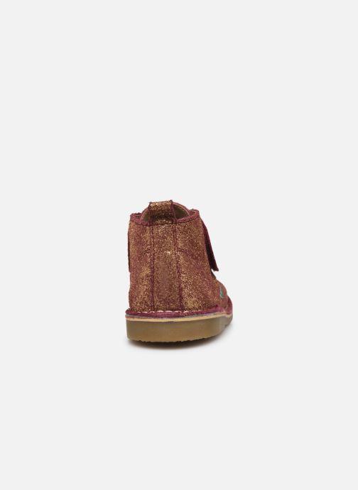 Schoenen met klitteband Kickers Takono Goud en brons rechts