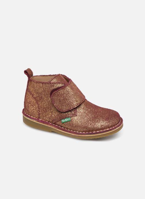 Schoenen met klitteband Kickers Takono Goud en brons detail