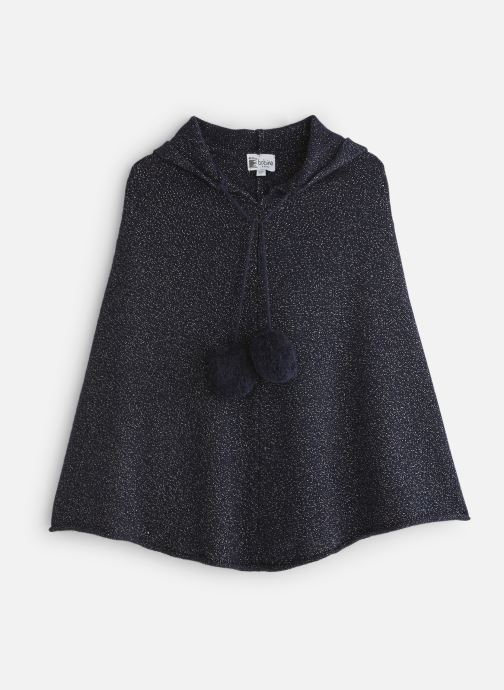 Vêtements Bobine Poncho Capuche PomPom Bleu vue détail/paire