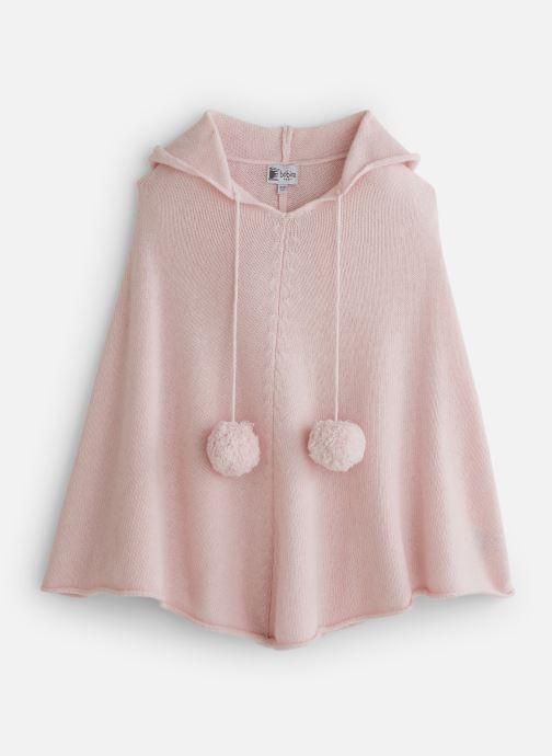 Vêtements Bobine Poncho Capuche PomPom Rose vue détail/paire