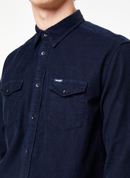 Vêtements Wrangler LS 2PKT FLAP SHIRT Bleu vue face