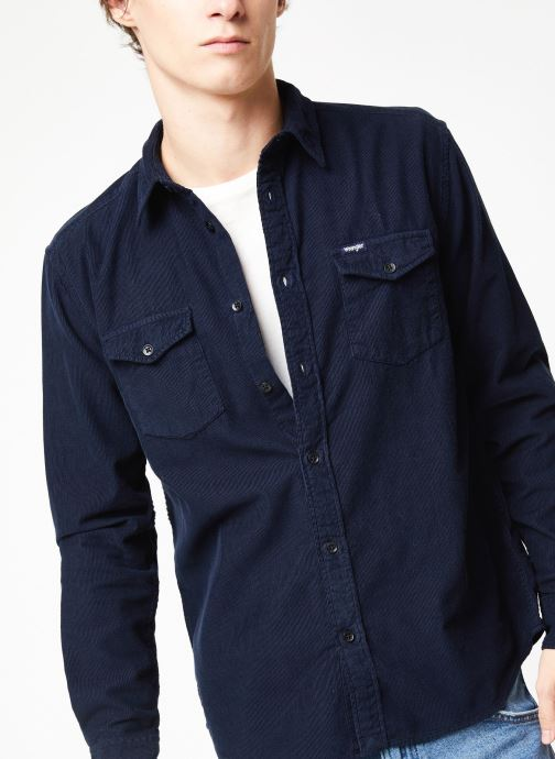 Vêtements Wrangler LS 2PKT FLAP SHIRT Bleu vue détail/paire