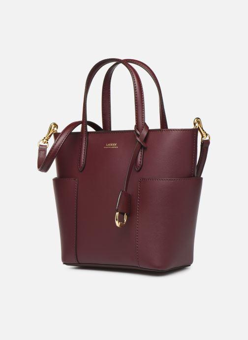 Sacs à main Lauren Ralph Lauren CARLYLE TOTE MINI Bordeaux vue portées chaussures