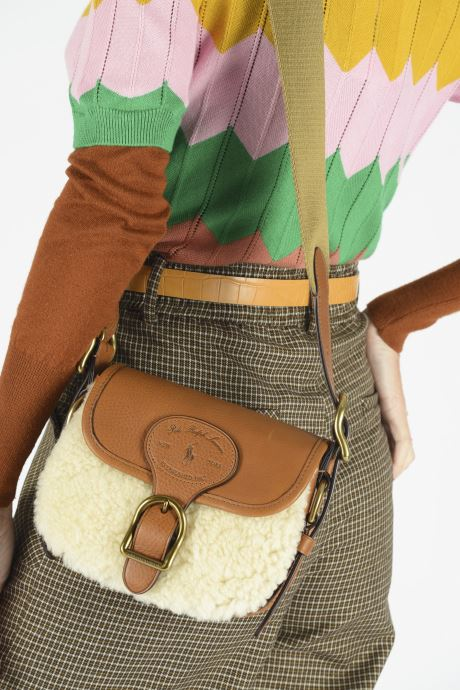 Handbags Polo Ralph Lauren SM HUTTON CROSSBODY SMALL Brown view from underneath / model view