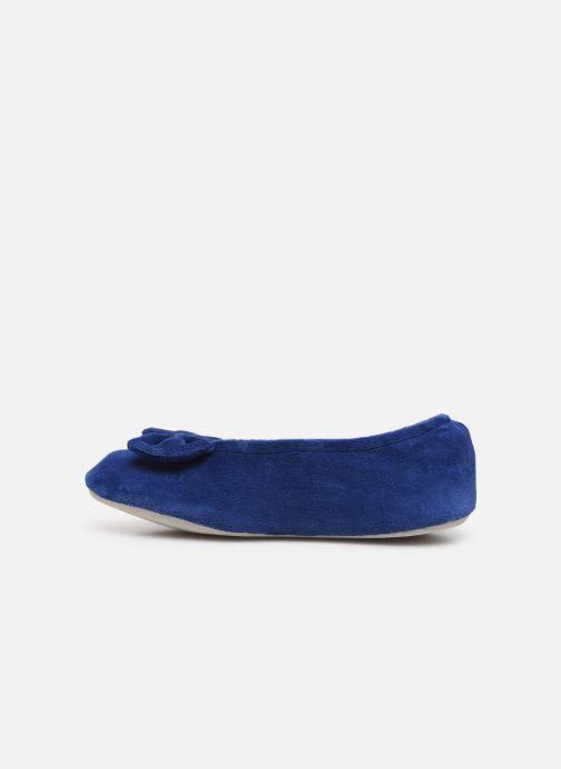 Chaussons Isotoner Ballerine velours bio grand nœud Bleu vue face