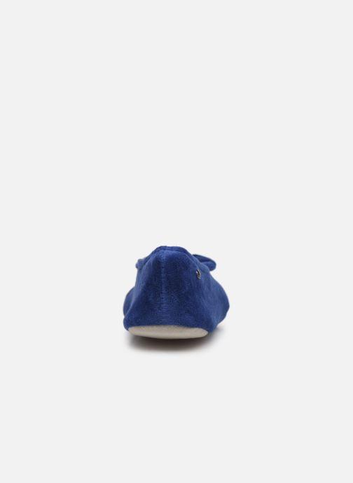 Pantuflas Isotoner Ballerine velours bio grand nœud Azul vista lateral derecha